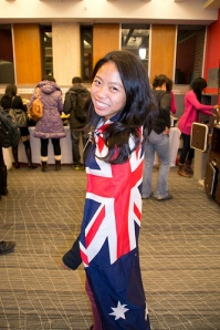 Student proudly wears the UK flag