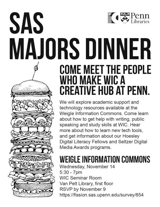 flyer for WIC majors dinner