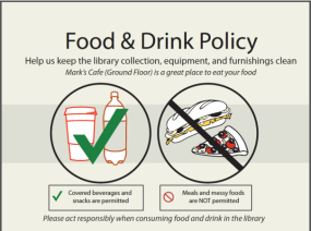 Lippincott Library New Food Policy Sign