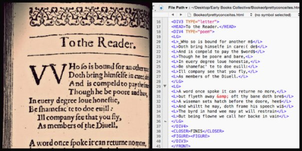 Side by side images of both the original letter to the reader page and the transcribed TEI code.