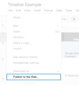 google spreadsheet publish to web